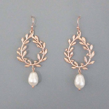 Beautiful, 3D, Leaf, White, Pearl, Gold, Silver, Rose gold, Earrings, Lovers, Friends, Mom, Sister, Gift