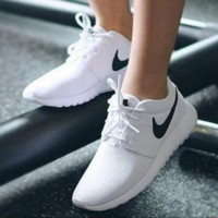 NIKE Women Men Running Roshe Sport Casual Shoes Sneakers White-black hook