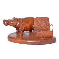 "Wooden Mobile Phone Stand ""HIPPOPOTAMUS"". IPhone 6/5/4S/4/3GS Wood Table Stand. Handcrafted Natural Ash-Tree"