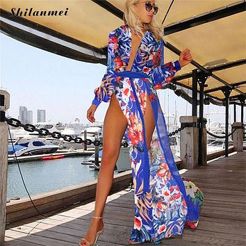 2017 summer bohemia beach dress maxi dress strand jurkjes chiffon boho long tunic cardigan beachwear wrap dresses for women