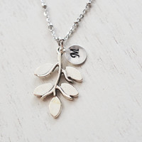 silver leaf necklace,layering necklace,bridesmaid gifts,wedding,birthday,leaf branch,dainty everyday jewelry,personalized leaf necklace gift