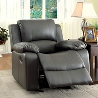 Larissa Transitional Leatherette Recliner Chair, Gray