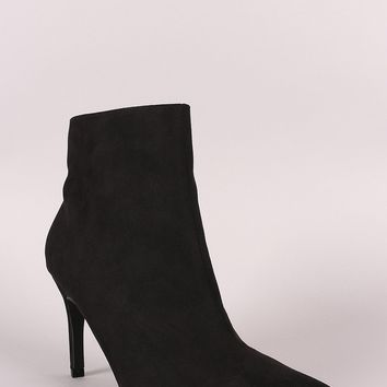 Bamboo Suede Pointy Toe Kitten Heeled Booties