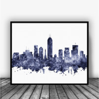 Indianapolis Skyline Black Art Print Poster