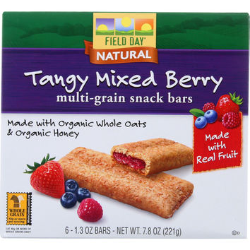Field Day Snack Bars - Organic - Multi-Grain - Filled - Tangy Mixed Berry - 6/1.3 oz - Pack of 6
