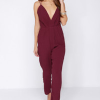 Lovers + Friends My Way Burgundy Jumpsuit