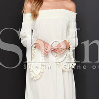 White Long Sleeve Off The Shoulder Tassel Dress -SheIn(Sheinside)