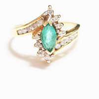 10K Yellow Gold Colombian Emerald and Diamond Ring Size 6.5