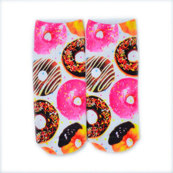 Print Cute Candy Foods&Flowers Printed Multiple Color Unisex Cotton Ankle Socks Intimate Gift