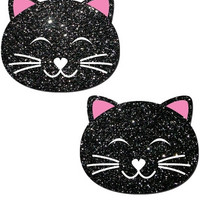 Black Glitter Kitty Pasties