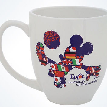 disney parks epcot mickey mouse flags soccer ceramic coffee mug new