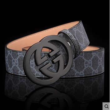GUCCI Popular Ladies Men Metal Double G Smooth Buckle Belt Print Leather Belt Black Black