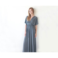 Gray Maxi Dress , Maxi Bridesmaids Dress , Bridesmaid Gray Dress , Evening Dress , Bat Sleeves, Batwing Dress - Blushfashion