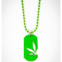 Green Leaf Cutout Dogtag Necklace