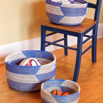 Three Blue Woven African Baskets