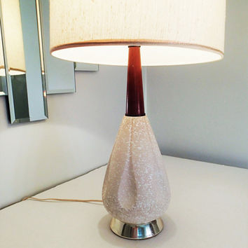 Table Lamp Mid Century Danish Modern China Craft beige with white textured speckle glaze, long wood neck piece, vintage linen shade
