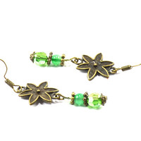 Dangle bronze flower women earrings