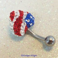 Bellybutton ring with red, white, blue flag heart w crystals 10mm bar