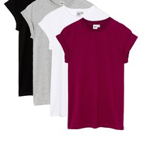 ASOS Boyfriend T-Shirt with Roll Sleeve 4 Pack SAVE 20%