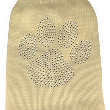 Clear Rhinestone Paw Knit Pet Sweater Sm Cream