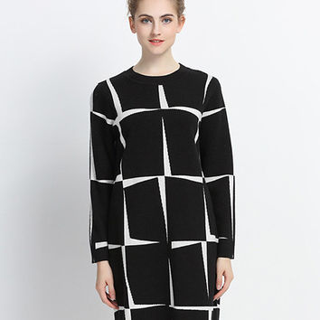 Color Block Long Sleeve Knitdress