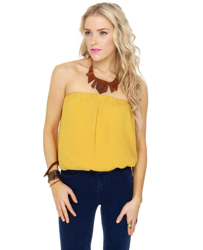 Cute Strapless Top Tube Top Mustard From Lulu S Tops