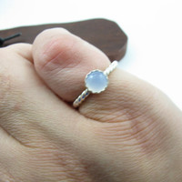 Sterling Silver Sky Blue Chalcedony Stacking Ring Handmade Metal Gemstone Jewelry Size 4 Knuckle Ring Small Ring Twisted Sterling Silver
