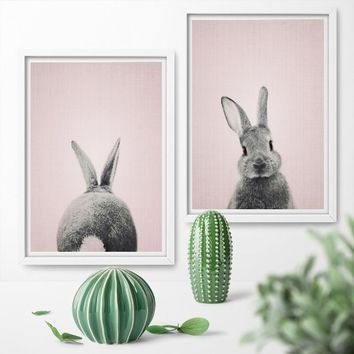 Nordic Style Kids Home Decor Wreath Cute Fox Rabbit Deer Kids Room Posters And Prints Wall Art Canvas Painting Prints