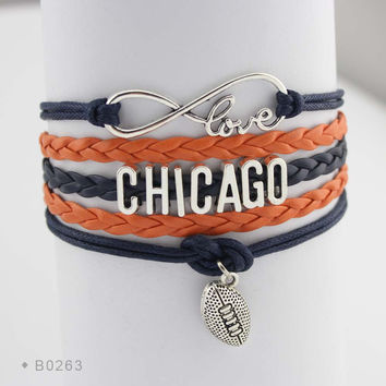 Infinity Love Football Bracelet - Chicago Football