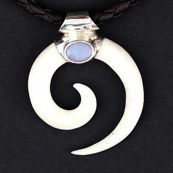 Amazing Bone Spiral Hook Pendant With Opal - Tribal Jewelry -Tribal Spiral Jewelry - Horn Necklace - Unisex Jewelry - Opal Jewelry