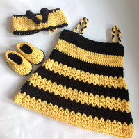 Crochet baby girl bumble bee dress with Headband PDF Pattern, tutorial PDF dress set file with pics.