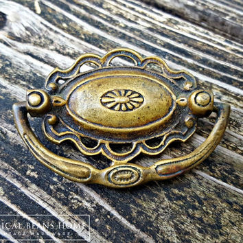 KBC Victorian Oval Drop Bail Pull Decorative Drawer Pulls Handles Ornate Dresser Pulls Vintage Drawer Pulls Antiqued Brass Drawer Pulls