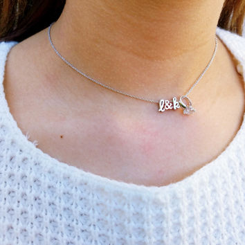 Wifey Ring Charm Letter Necklace