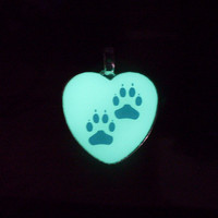 GLOW in the Dark PAW PRINT Silhouette Pendant Necklace - Choose Color & Shape - Green, Aqua, Blue, Yellow, Orange, White, Pink, Purple, Red