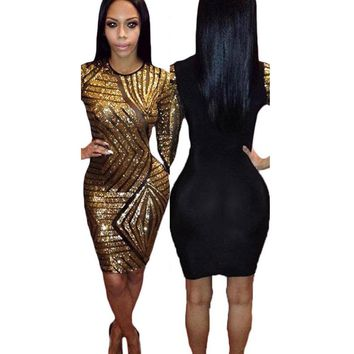 2017 Women Sexy Sequin Dress 3/4 Sleeve Party Club Pencil Dresses O Neck Club Wear Gold Sheer Bodycon Dress  Vestidos