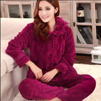 Autumn and winter coral fleece sleepwear women thickening flannel pajama sets,100% cotton long-sleeve set lounge