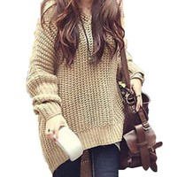 Women Batwing Jumper Cape Ponchos Oversize Knitwear Sweater
