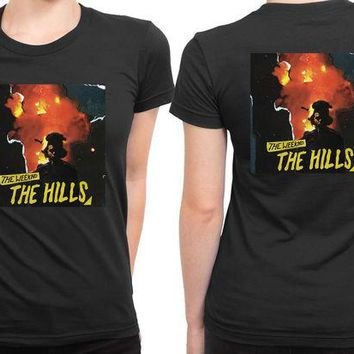 DCCK7H3 The Weeknd The Hills Cover Album 2 Sided Womens T Shirt