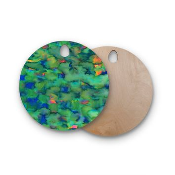 """Miranda Mol """"Dreamy Clouds"""" Green Teal Abstract Fantasy Watercolor Painting Round Wooden Cutting Board"""