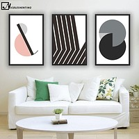 NICOLESHENTING Black White Geometry Minimalist Art Canvas Poster Painting Abstract Wall Picture Modern Home Bedroom Decoration
