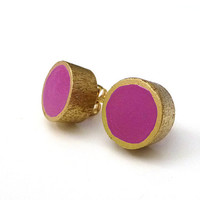 Radiant orchid and gold stud earrings, wood post earrings, colorblock earrings