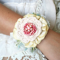 Wrist Corsage Flower Bracelet - Pink, Light Yellow, Turquoise Blue