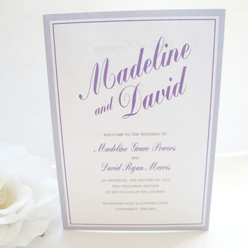 Purple and Gray Wedding Program - DEPOSIT