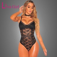 Liva Girl Black Sexy Backless Lace Bodysuit Perspective Skinny Fringe White Jumpsuit Romper Women Club Party Playsuits Bodysuits