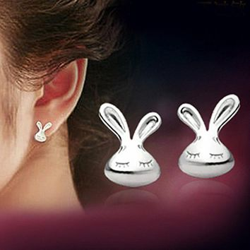 ES315 Women Stud Earrings Rabbit Fashion Jewelry Brincos Bunny Animal Earing pendientes mujer boucles Bijoux Pormotion