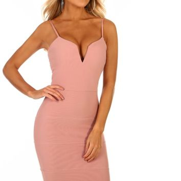 A Little Crush Rose Pink Bodycon Midi Dress