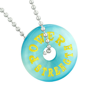 Inspirational Power Strength Amulet Lucky Donut Charm Blue Simulated Cats Eye Pendant 18 Inch Necklace