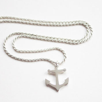 Anchor Necklace, Sterling Silver, Chunky & Heavy, Handmade Sterling Silver, Nautical Rope Chain, Made in Brighton