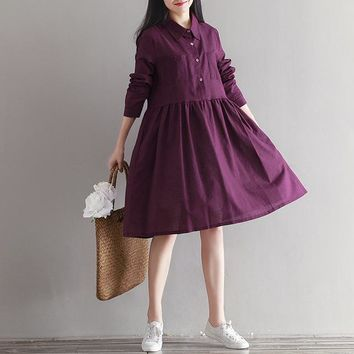 plus size women clothing 2017 new autumn female long sleeve cotton linen sweet dress japanese mori girl style vintage dresses