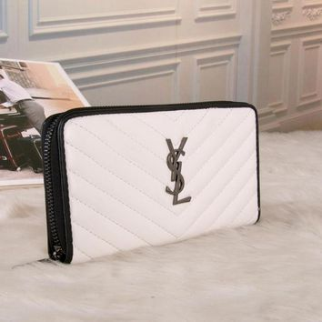 Best Deal Online YSL Yves Saint laurent Womens Wallet Faux Leather RFID Blocking Purse Credit Card Clutch 60017